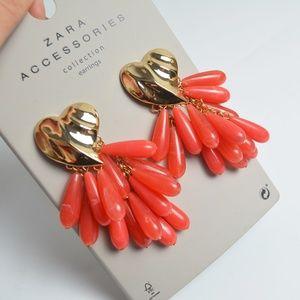 Zara Gold Heart Coral Resin Droplets Earrings NEW